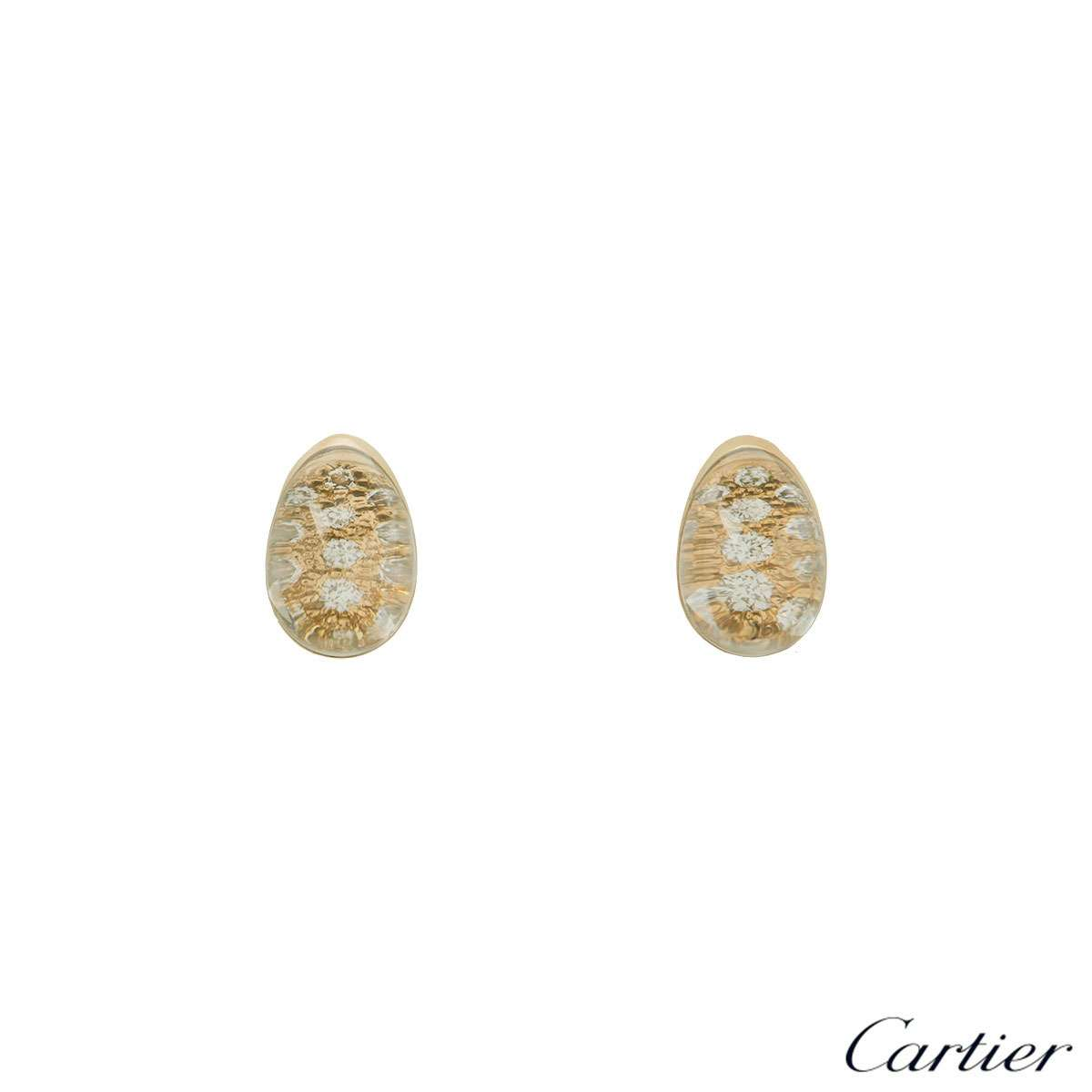Cartier Yellow Gold Myst Rock Crystal Diamond Earrings CRN8021900